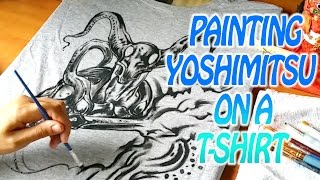 Painting Yoshimitsu on a tshirt / How to paint Tekken 7FR character on a t shirt (鉄拳7 FR)