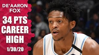 De'Aaron Fox drops career-high 34 points in Kings vs. Clippers | 2019-20 NBA Highlights