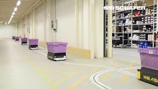 Fahrerloses Transportsystem Weasel®, Materialfluss, E-Commerce, Hermes Fulfilment GmbH