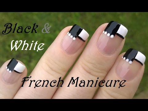 BLACK WHITE Nail Art Separated French Manicure Tutorial