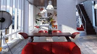 Interior in avant garde style
