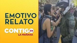 Emotivo abrazo entre manifestante y carabinero - Contigo en La Mañana