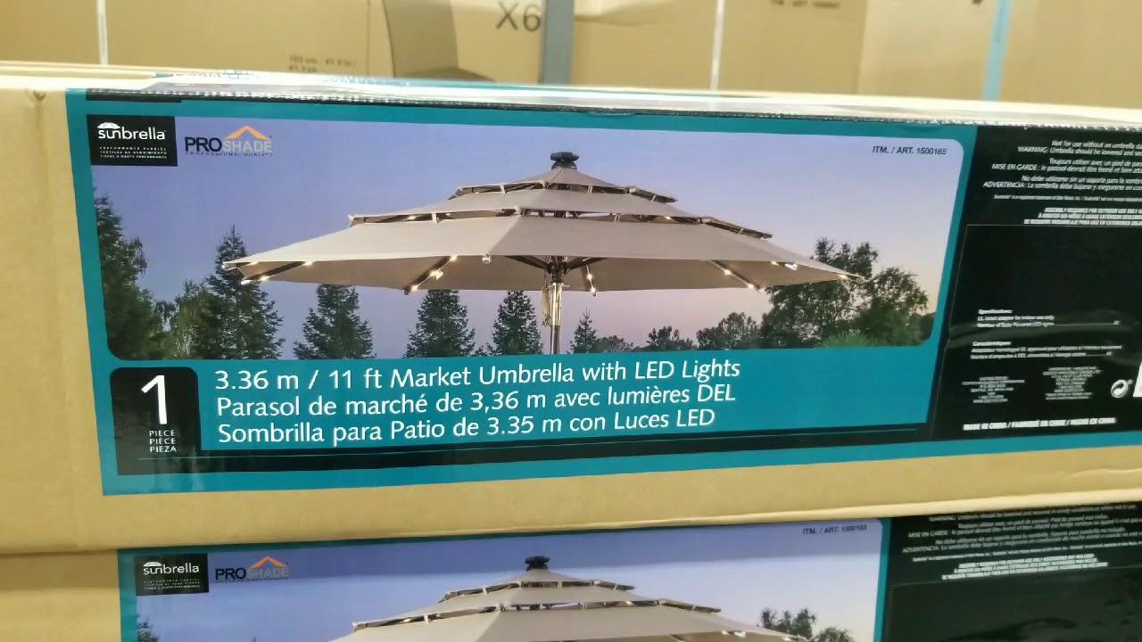 costco 11 ft market patio umbrella w solar led lights 225