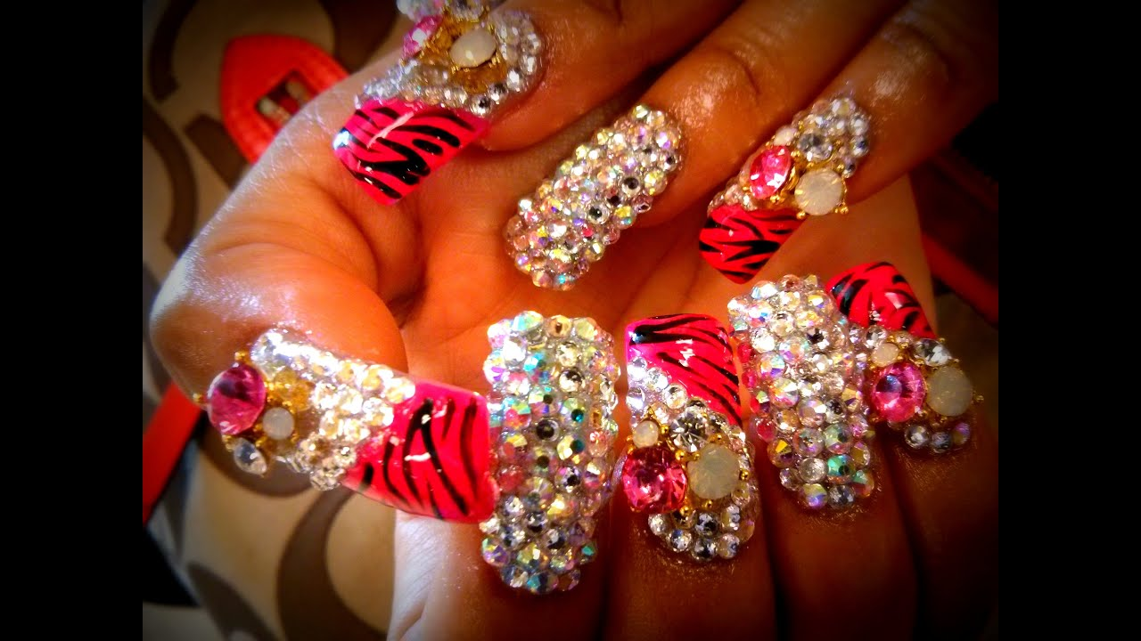 Bling Bling Diamond Rhinestone Nails - YouTube