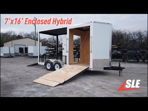7'x16' Enclosed / Utility Motorcycle Lawn Mower Cargo Trailer