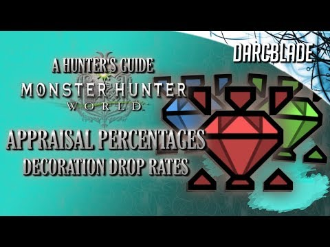 APPRAISAL PERCENTAGES : DECORATION DROP RATES : MONSTER HUNTER WORLD
