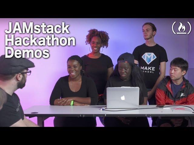 Hackathon Live Demos from the 2018 freeCodeCamp JAMstack Hackathon top 7 teams