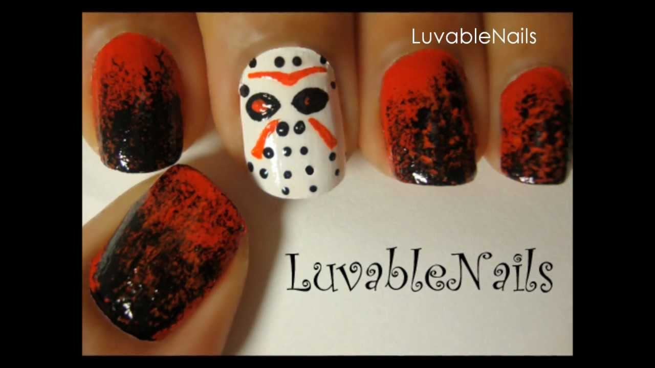 Horror nail art/Friday the 13th PART I nail art by LuvableNails ...