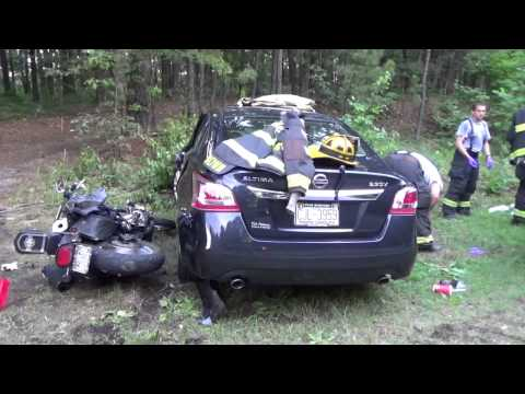 Apex and Moncure Fire Departments - Motorcycle accident New Hill NC - Fuquay Fire Buffs