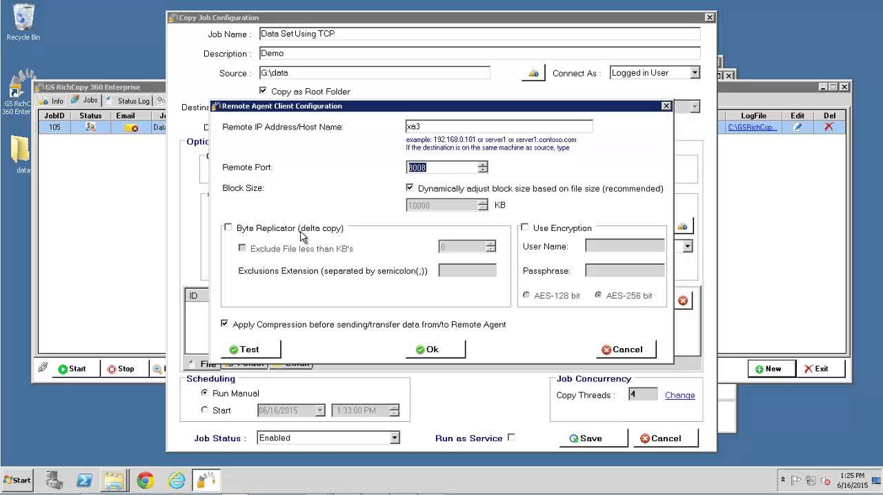 GS RichCopy 360 Enterprise Using TCP File Copy Method