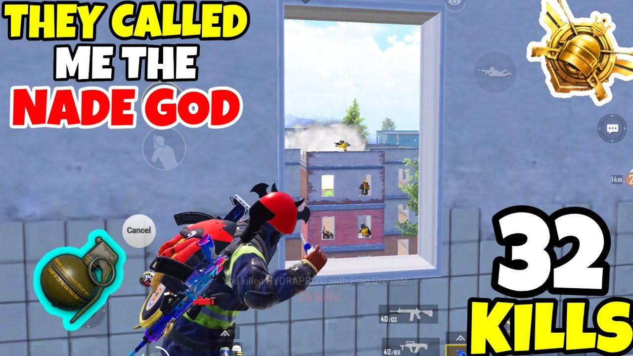 This OP Nade Made Me The NADE-GOD in PUBG Mobile? • (32 KILLS) • PUBGM (HINDI)