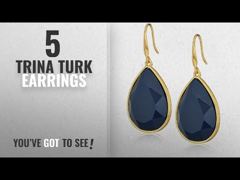 "10 Best Trina Turk Design Earrings: Trina Turk ""Core Ii"" Gold/Navy Teardrop Earrings"