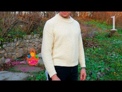 Мужской простой пуловер спицами