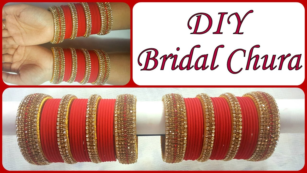 DIY Golden Red Bridal Chura I Recycle old Bangles into Bridal Silk thread  Chura I Creative Diaries