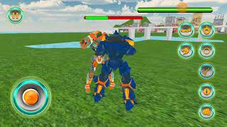 US Police Transform Robot Car Fire Dragon Fight Android Gameplay