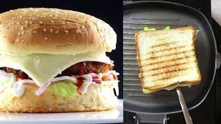 Veg Burger Recipe | Veg Cheese Grilled Sandwich Recipe | Veg Kathi Roll Recipe | Village Travel Food