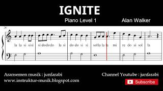 ignite , alan walker - belajar not balok melodi piano level 1 / pemula - not doremi lagu barat