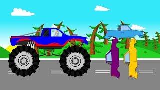 Blue Monster Truck   Vehicles For Kids   Niebieski Monster Truck Stunt