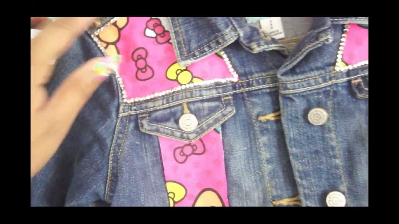 cce60300b DIY Customized Hello Kitty Spiked Jean Jacket (Finished Product ...
