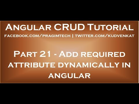 Add Required Attribute Dynamically In Angular