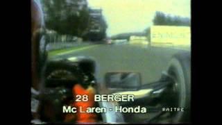 25 min Berger on board McLaren chasing Senna Monza 1990