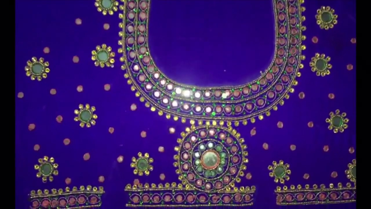Simple Mirror Work Design Blouse Maggam Works Youtube