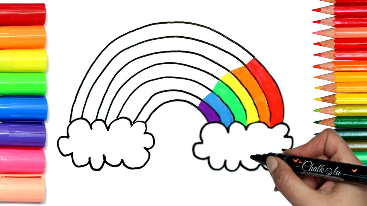 how to draw a rainbow coloring with chalkola chalk markers