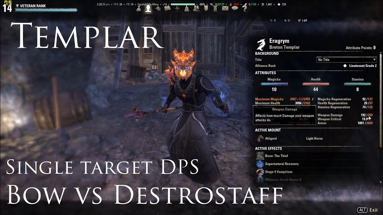 Eso Best Templar Build Dps