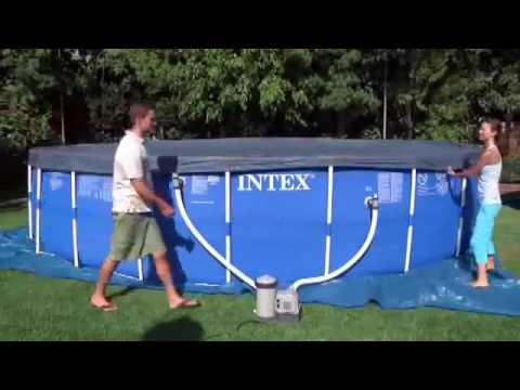 intex frame pool set rondo aufbau video deutsch youtube. Black Bedroom Furniture Sets. Home Design Ideas
