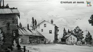 How to Draw Old Wooden House Street For Beginners   Step by Step   Shading