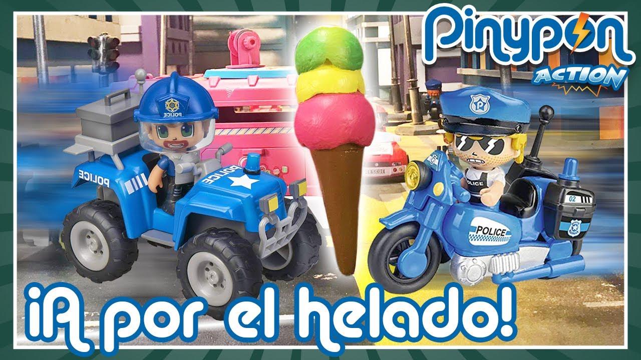 SUPERCARRERA por HELADO GIGANTE de Pinypon 🚓🏍️ ¿Ganará el QUAD o la MOTO de Pinypon Action?