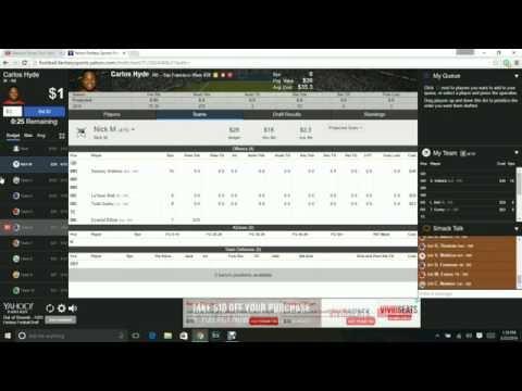 Yahoo Fantasy Football Auction Mock Draft 2016