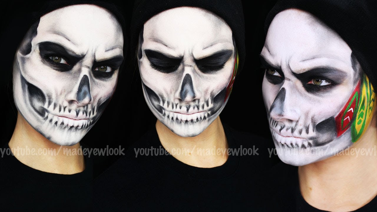 CHICAGO BLACKHAWKS Skull Makeup Tutorial - YouTube