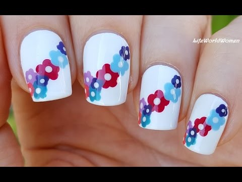 Dotting Tool Nail Art 2 Colorful Flower Nails With White Base