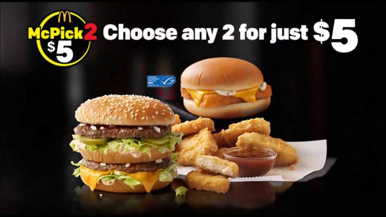 The Mcpick 2 Menu At Mcdonalds Cl Ic Menu For Just 5 Dollars You