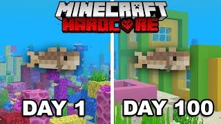 I Survived 100 Days of Hardcore Minecraft as a Fish... (in 10 minutes)
