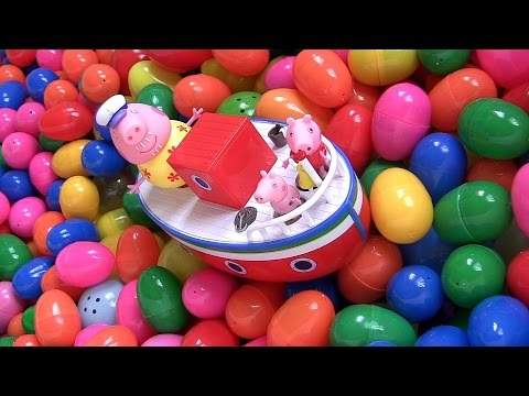 Peppa Pig Holiday Boat Grandpa Pool Party SURPRISE EGGS Frozen by Funtoys Disney Toy Review