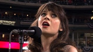 WS2012 Gm3: Zooey Deschanel sings the national anthem