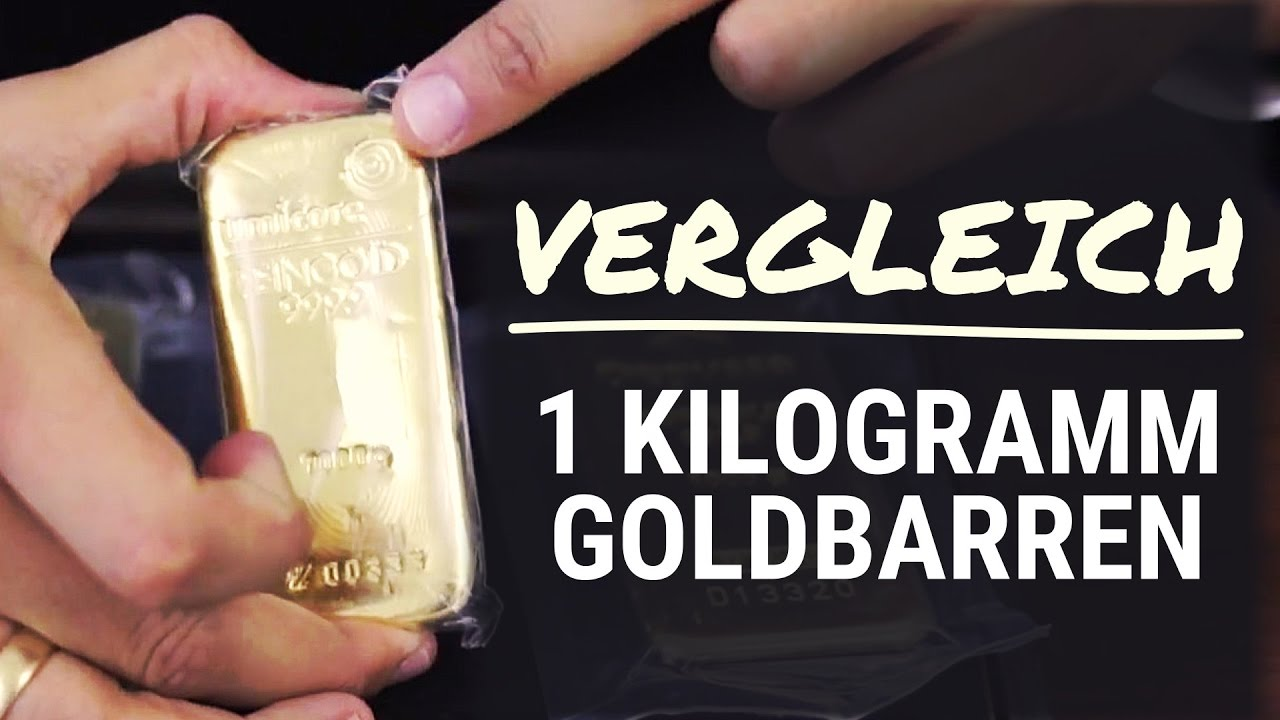 Goldbarren Im Vergleich 1 Kg Heraeus Degussa Umicore Gold