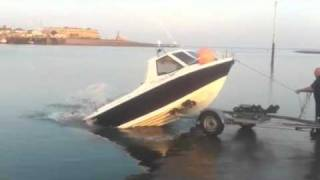 Launching a Warrior fishing boat the quick way WeSellBoats.co.uk