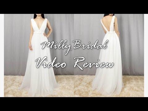 evening-dresses-|-long-a-line-v-neck-open-back-white-formal-prom-dress---millybridal-video-review