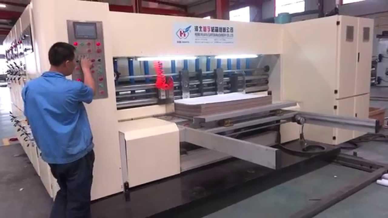 Corrugated Carton Box Automatic Flexo 4 Color Printer Rotary Die Cutter Machine 1450x2800