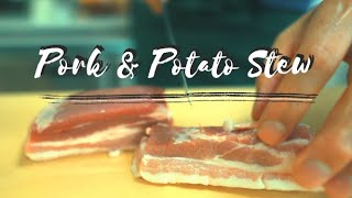 【ASMR】How to cook pork & potato in a pressure cooker & eat with SOBA!