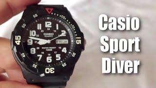 Black rubber Casio sport diver MRW200H-1BCT men's quartz watch unboxing and review