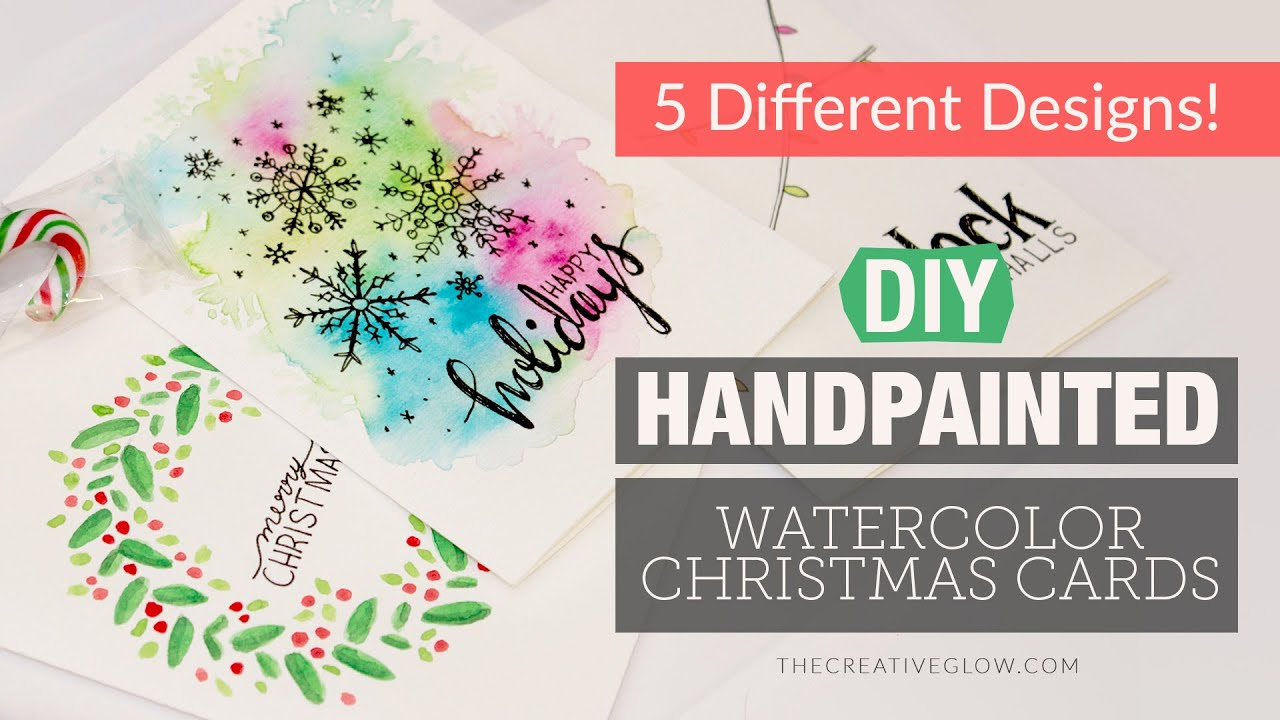 Diy hand painted watercolor christmas cards 5 different for Painted christmas cards