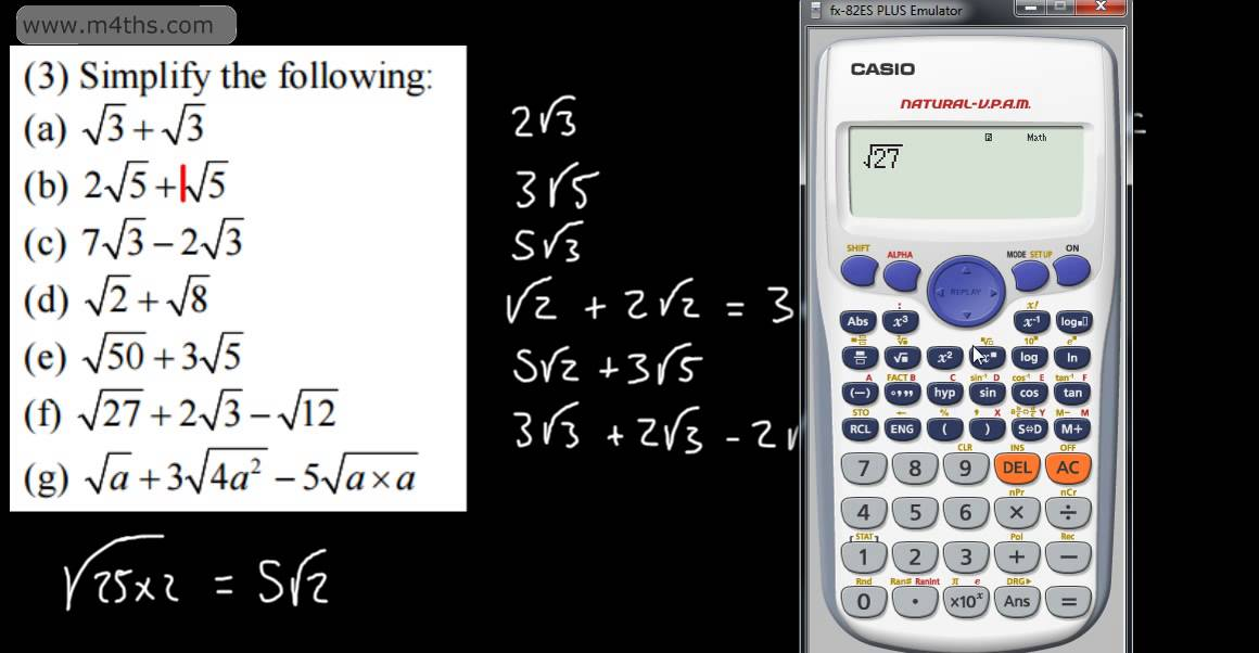 Core 1 Surds 3 Adding And Subtracting Surds As Maths A Level