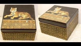 Decoupage on wood lesson #30 DIY wooden box stencil art tutorial ancient metalworking imitation