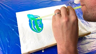 Acrylic Pouring With A Straw And A Silicone Basting Brush
