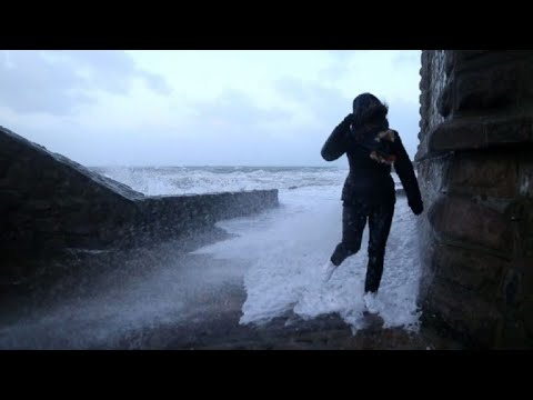 Waves in northern France as storm Eleanor barrels through Europe