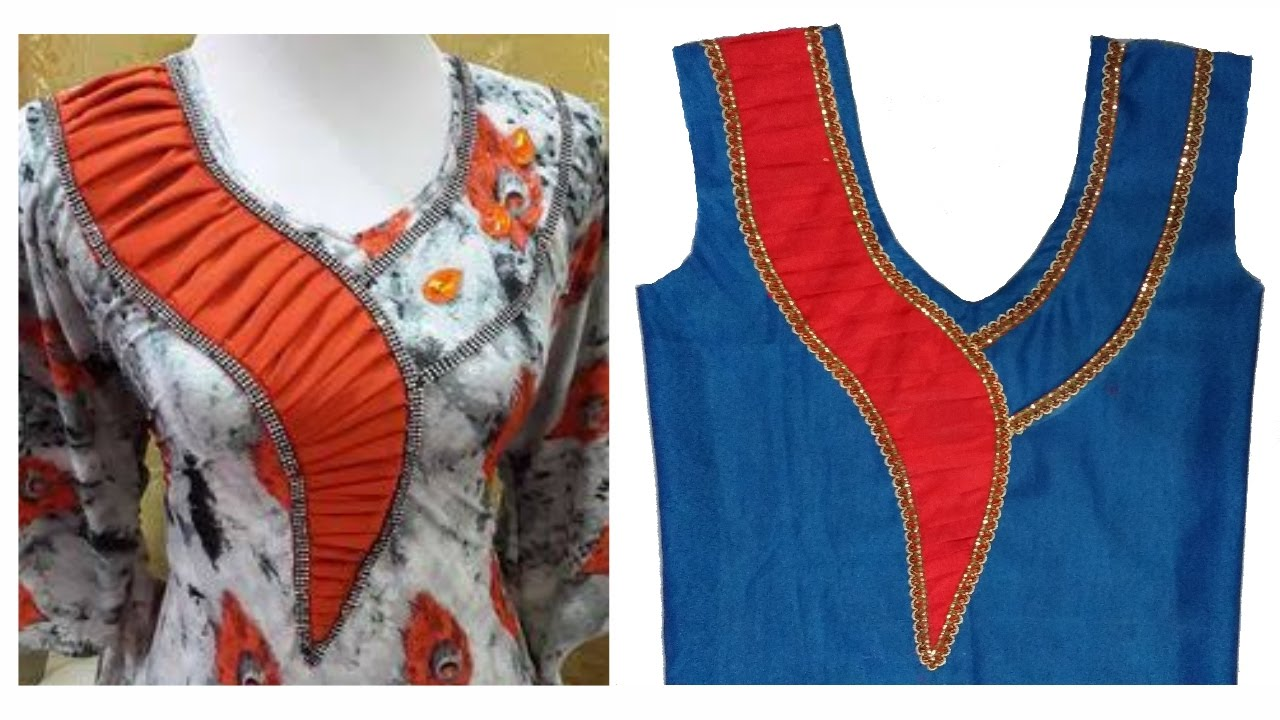 How To Cut And Stitch Trendsetting Designer Neck With Pleats And - Latest churidar neck designs for stitching